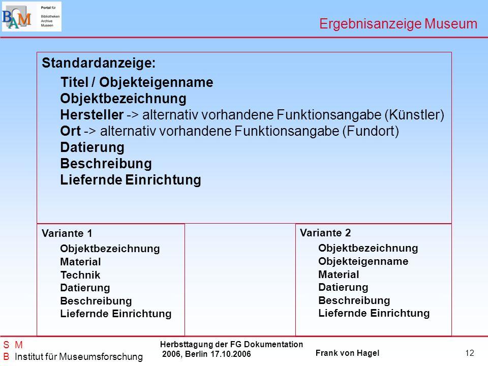 Herbsttagung der FG Dokumentation 2006, Berlin 17.10.2006 Frank von Hagel S M B Institut für Museumsforschung 12 Ergebnisanzeige Museum Standardanzeig