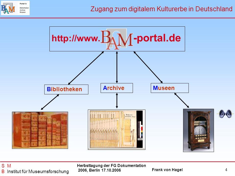 Herbsttagung der FG Dokumentation 2006, Berlin 17.10.2006 Frank von Hagel S M B Institut für Museumsforschung 4 ArchiveMuseen Bibliotheken http://www.