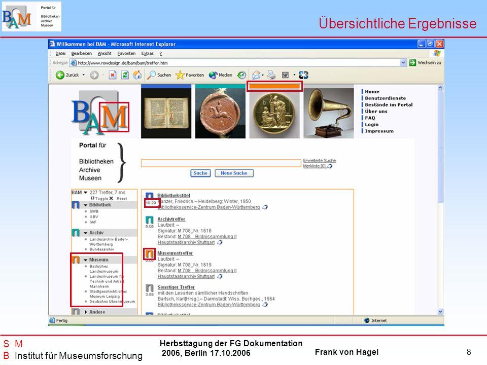 Herbsttagung der FG Dokumentation 2006, Berlin 17.10.2006 Frank von Hagel S M B Institut für Museumsforschung 19 Teilnahme am BAM - Portal Neue Teilnehmer: Gerne.