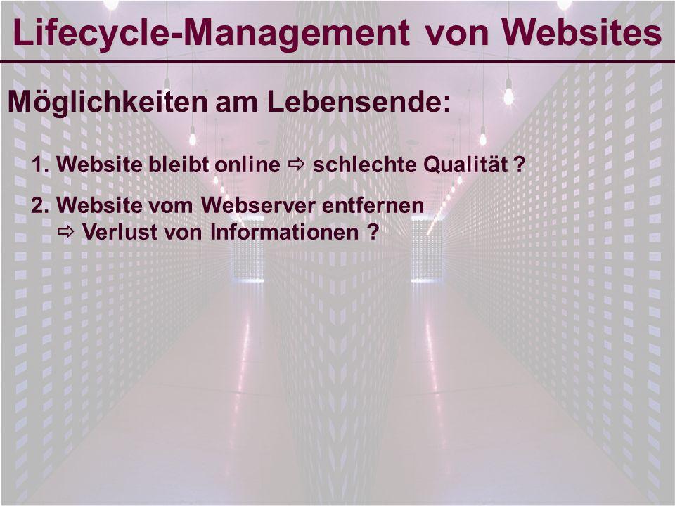 6-Sep-2007reto ambühler4 Lifecycle-Management von Websites Möglichkeiten am Lebensende: 1.Website bleibt online schlechte Qualität .