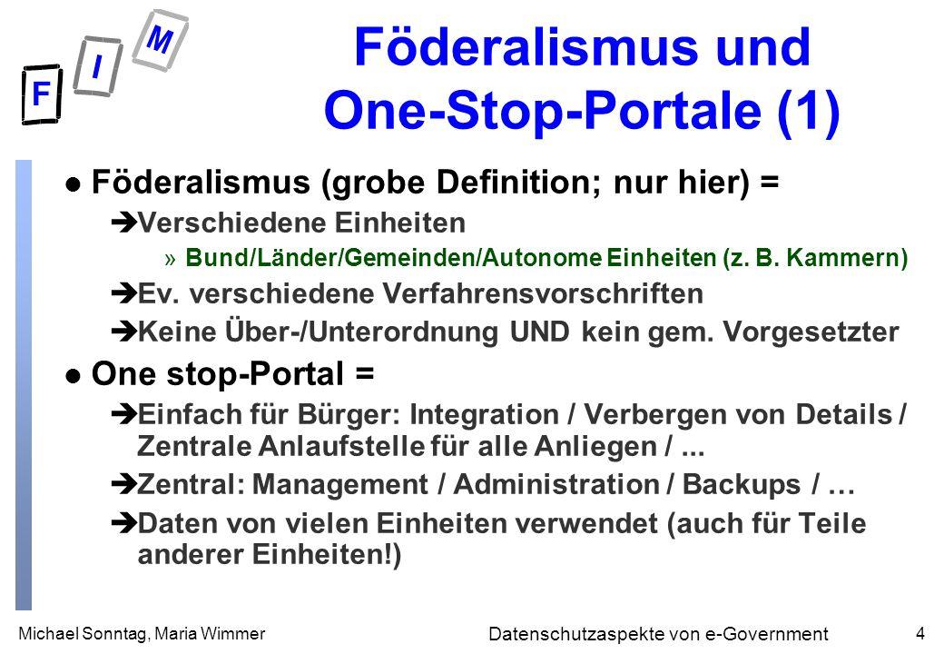 Michael Sonntag, Maria Wimmer4 Datenschutzaspekte von e-Government Föderalismus und One-Stop-Portale (1) l Föderalismus (grobe Definition; nur hier) = èVerschiedene Einheiten »Bund/Länder/Gemeinden/Autonome Einheiten (z.