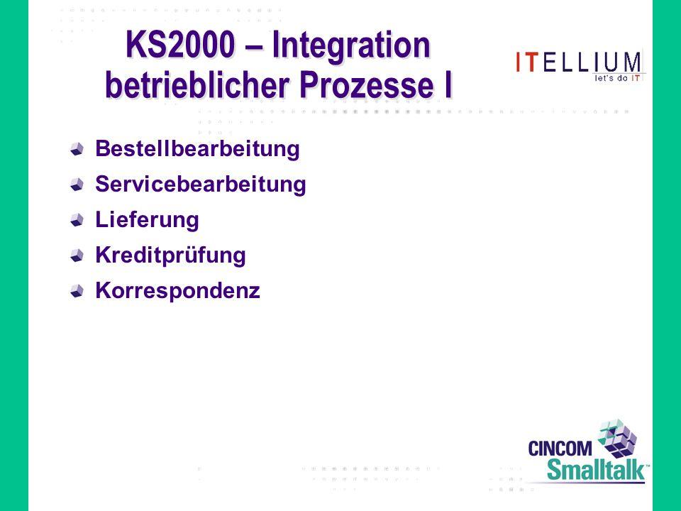 KS2000 – Integration betrieblicher Prozesse I Bestellbearbeitung Servicebearbeitung Lieferung Kreditprüfung Korrespondenz