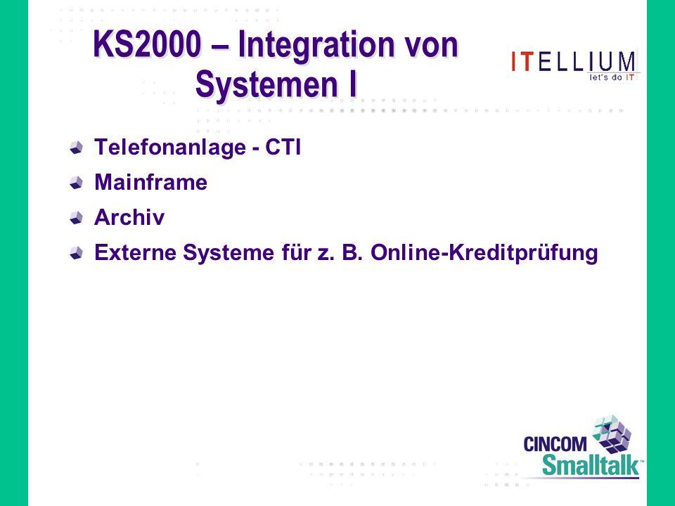 KS2000 – Integration von Systemen I Telefonanlage - CTI Mainframe Archiv Externe Systeme für z.