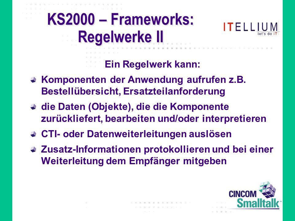 KS2000 – Frameworks: Regelwerke II Ein Regelwerk kann: Komponenten der Anwendung aufrufen z.B.