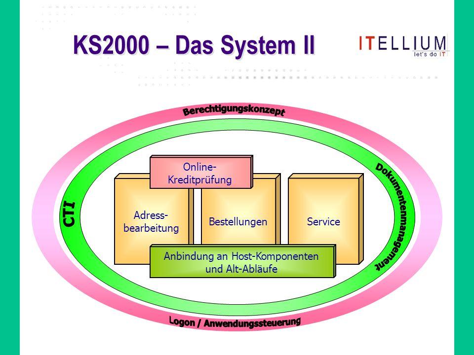 KS2000 – Das System II Adress- bearbeitung Bestellungen Service Online- Kreditprüfung Anbindung an Host-Komponenten und Alt-Abläufe
