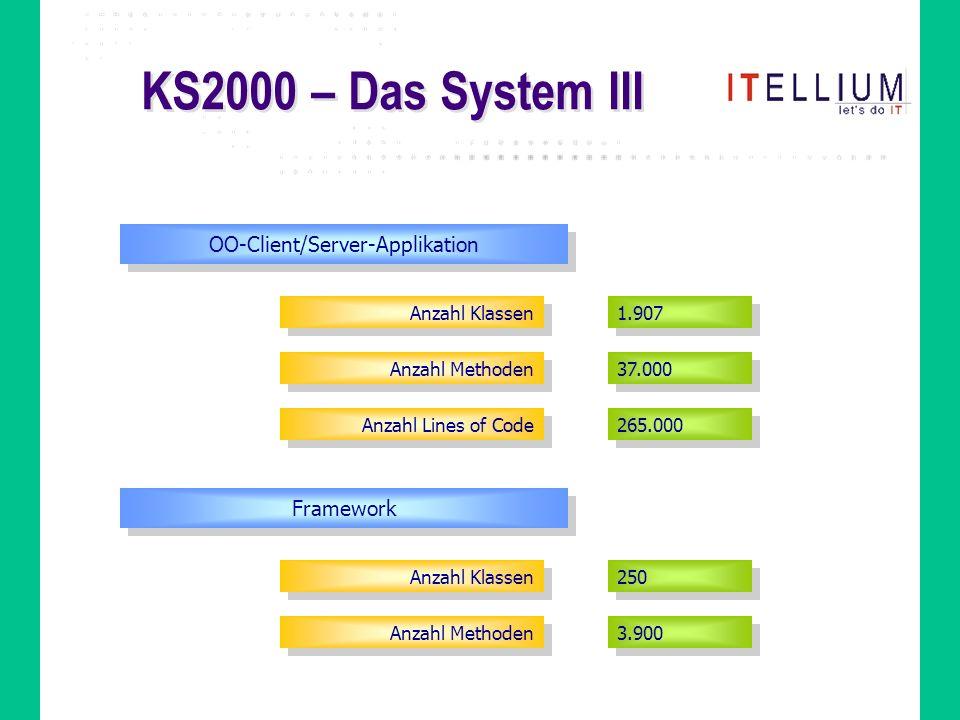 KS2000 – Das System III OO-Client/Server-Applikation Anzahl Klassen Anzahl Methoden Anzahl Lines of Code 1.907 37.000 265.000 Framework Anzahl Klassen Anzahl Methoden 250 3.900