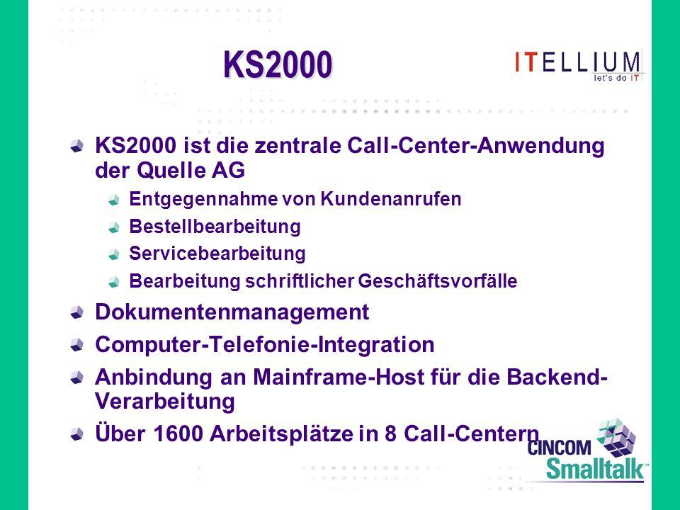 KS2000 KS2000 ist die zentrale Call-Center-Anwendung der Quelle AG Entgegennahme von Kundenanrufen Bestellbearbeitung Servicebearbeitung Bearbeitung schriftlicher Geschäftsvorfälle Dokumentenmanagement Computer-Telefonie-Integration Anbindung an Mainframe-Host für die Backend- Verarbeitung Über 1600 Arbeitsplätze in 8 Call-Centern
