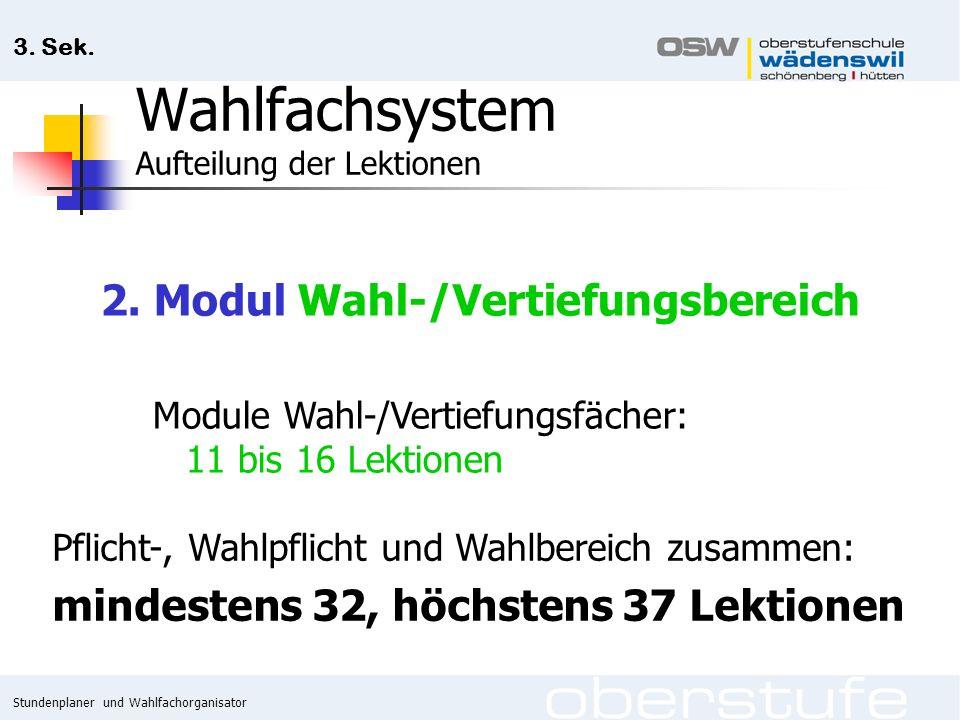 Stundenplaner und Wahlfachorganisator 3. Sek. Wahlfachsystem Aufteilung der Lektionen 2.
