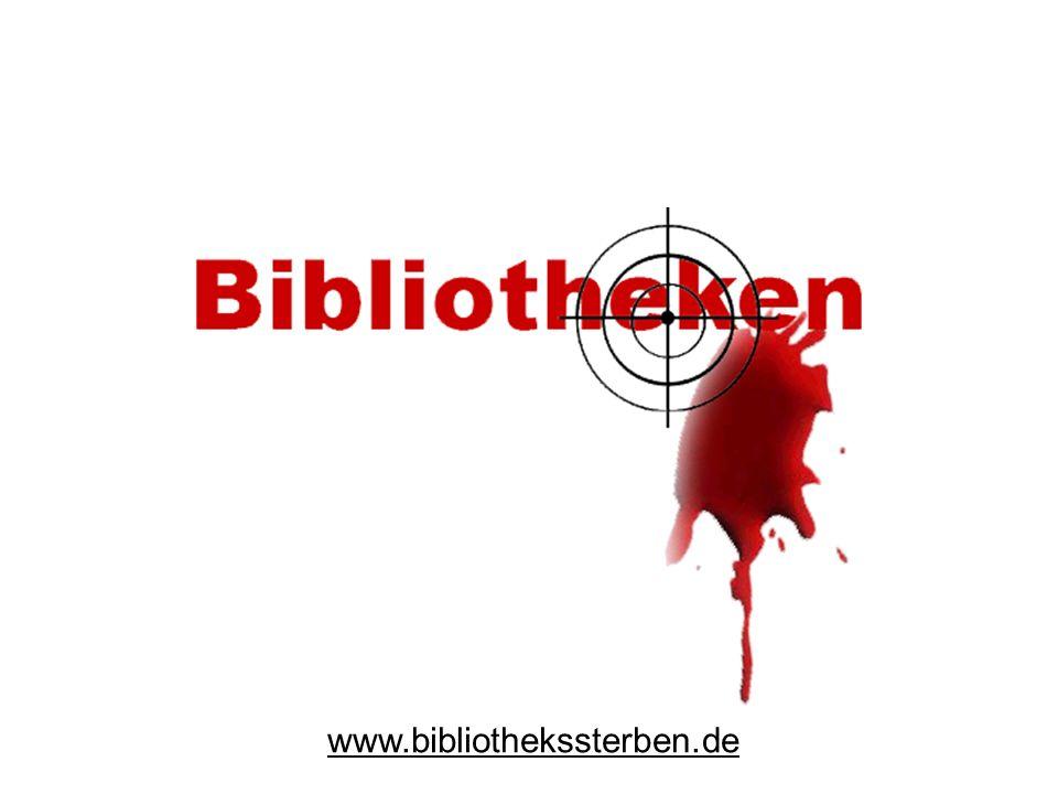 Entstehungsgeschichte von www.bibliothekssterben.de Gründung am 24.März 2004 auf Bibliothekskongreß 2004 in Leipzig (Herren Reisser und Ackermann) Veröffentlichung am 23.