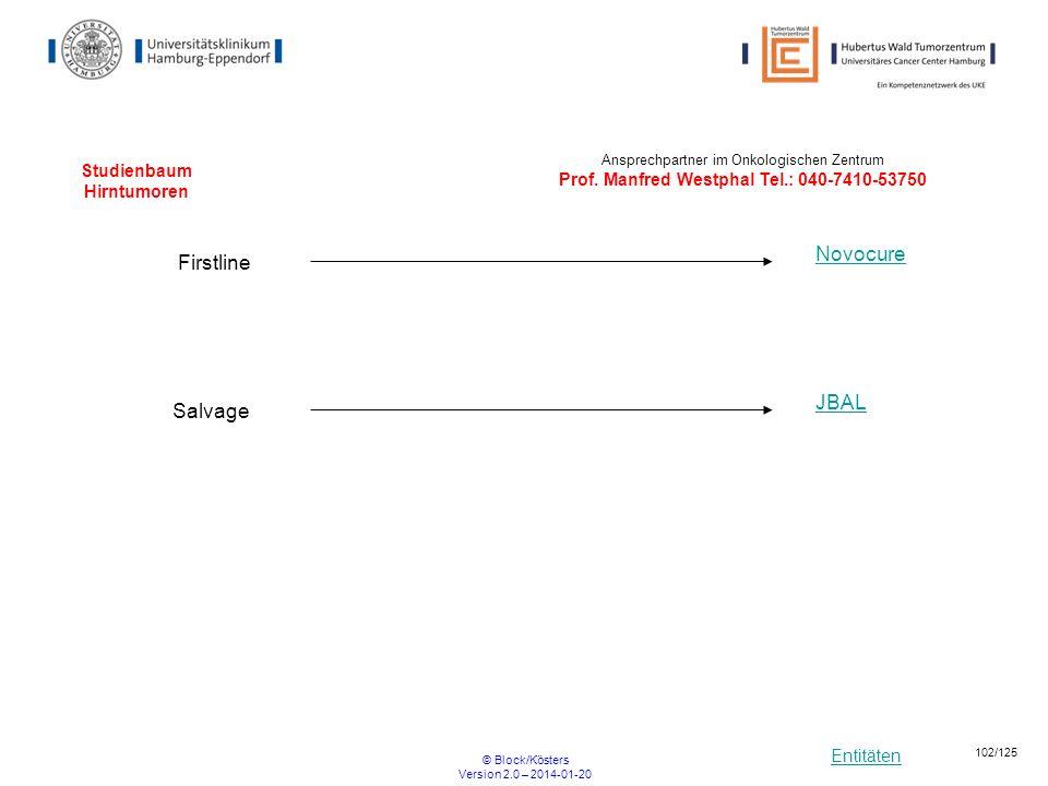 Entitäten © Block/Kösters Version 2.0 – 2014-01-20 102/125 Studienbaum Hirntumoren Firstline Novocure Salvage JBAL Ansprechpartner im Onkologischen Ze
