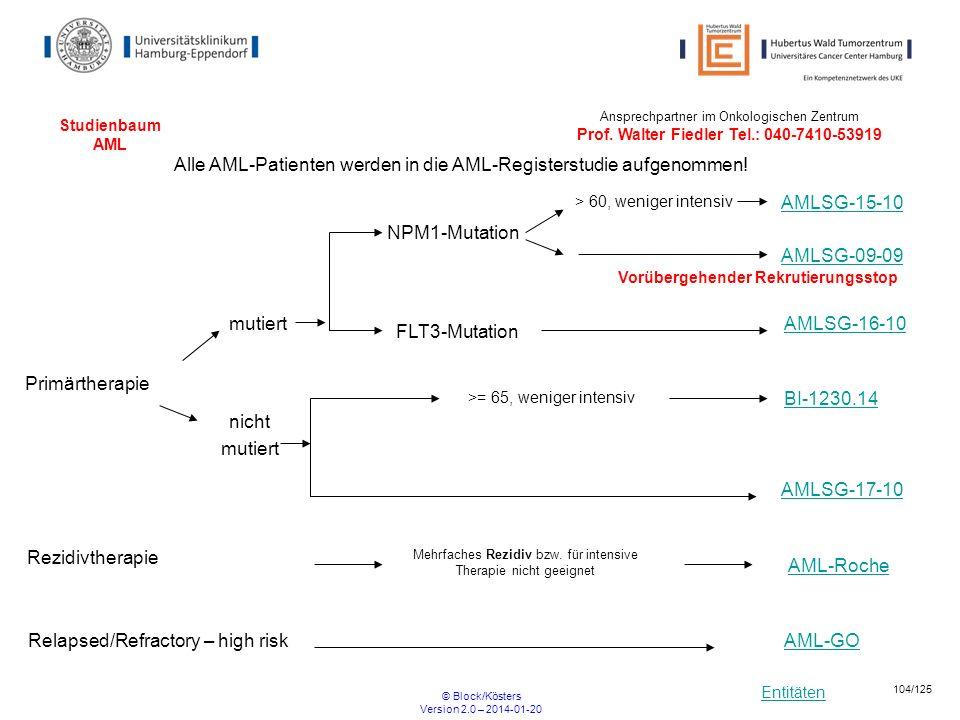 Entitäten © Block/Kösters Version 2.0 – 2014-01-20 104/125 Studienbaum AML NPM1-Mutation > 60, weniger intensiv Alle AML-Patienten werden in die AML-R