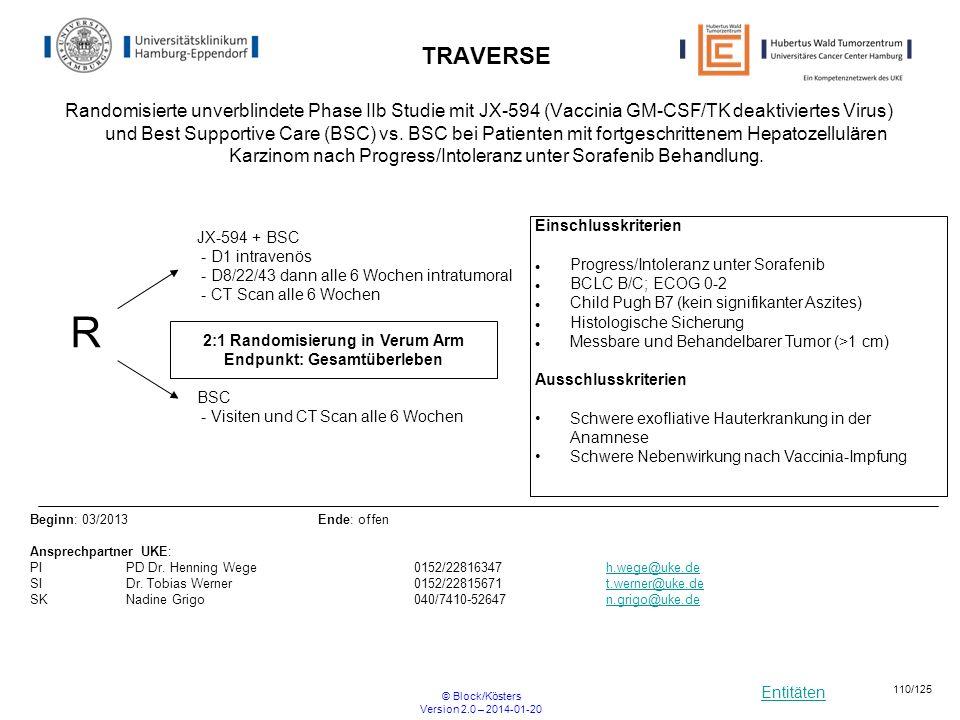 Entitäten © Block/Kösters Version 2.0 – 2014-01-20 110/125 TRAVERSE Randomisierte unverblindete Phase IIb Studie mit JX-594 (Vaccinia GM-CSF/TK deakti
