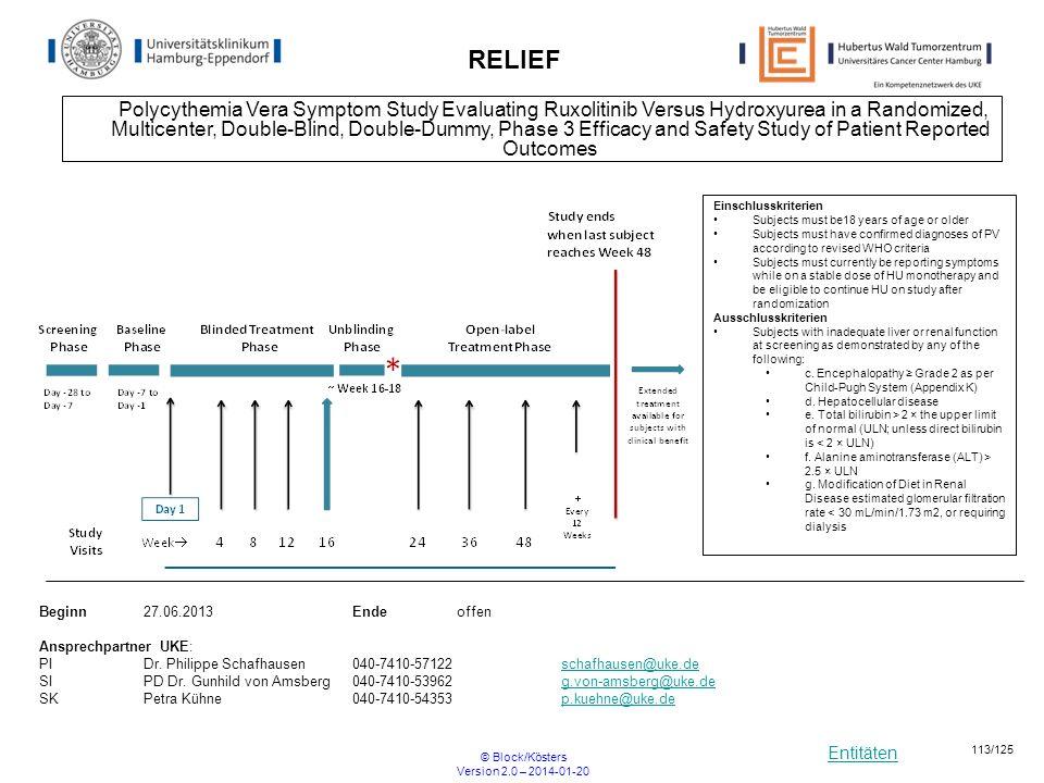 Entitäten © Block/Kösters Version 2.0 – 2014-01-20 113/125 Polycythemia Vera Symptom Study Evaluating Ruxolitinib Versus Hydroxyurea in a Randomized,