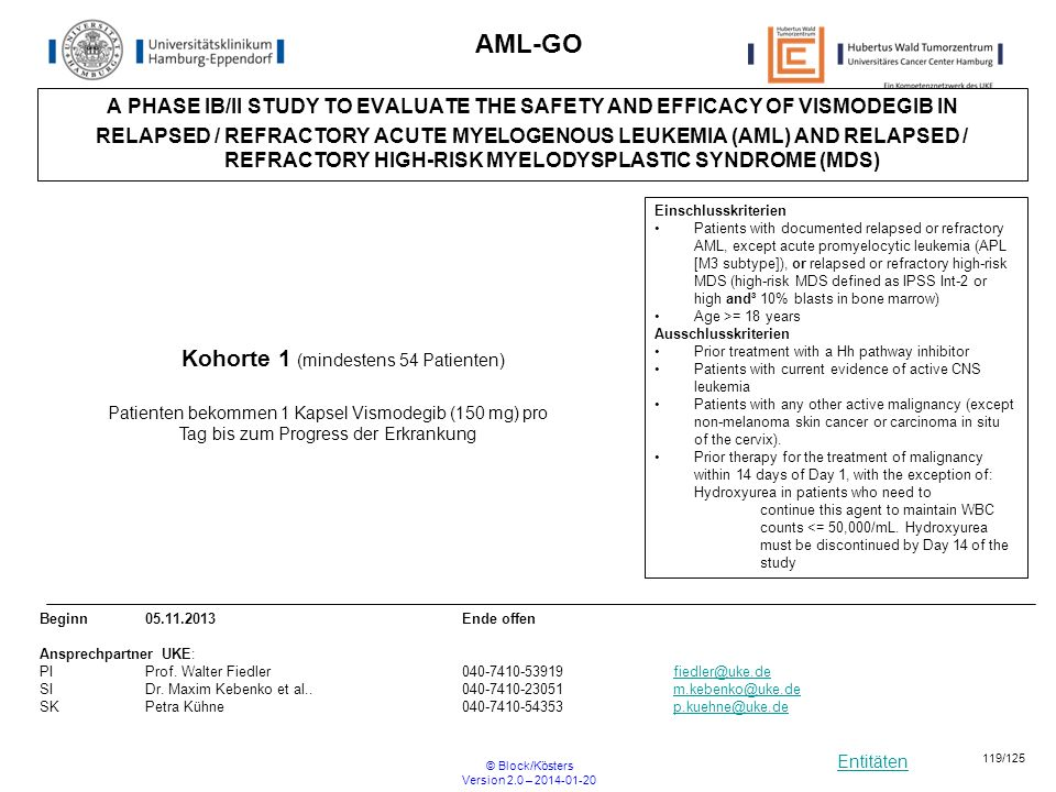 Entitäten © Block/Kösters Version 2.0 – 2014-01-20 119/125 AML-GO A PHASE IB/II STUDY TO EVALUATE THE SAFETY AND EFFICACY OF VISMODEGIB IN RELAPSED /