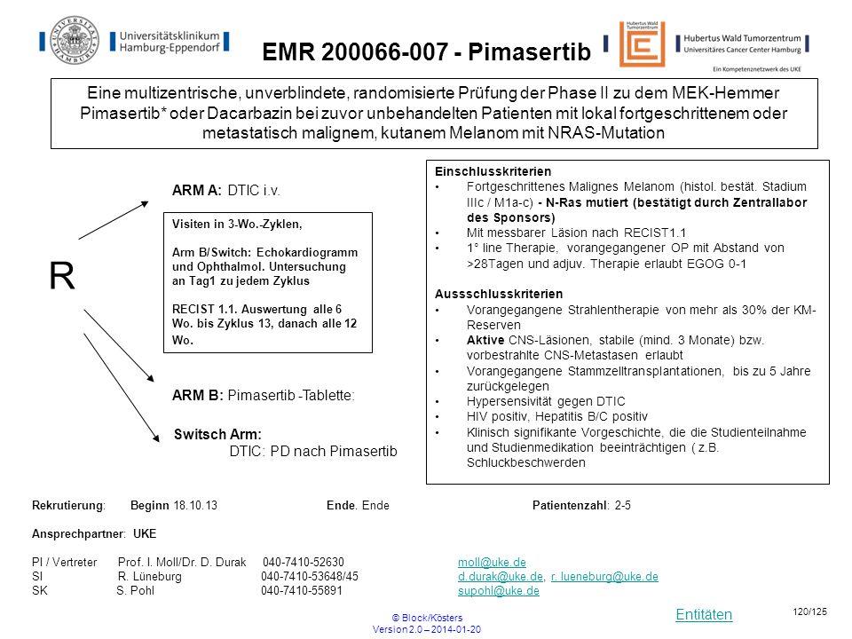 Entitäten © Block/Kösters Version 2.0 – 2014-01-20 120/125 EMR 200066-007 - Pimasertib Eine multizentrische, unverblindete, randomisierte Prüfung der