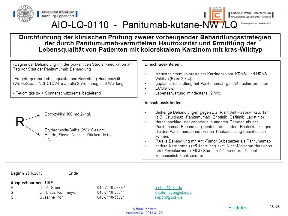 Entitäten © Block/Kösters Version 2.0 – 2014-01-20 123/125 AIO-LQ-0110 - Panitumab-kutane-NW /LQ Durchführung der klinischen Prüfung zweier vorbeugend