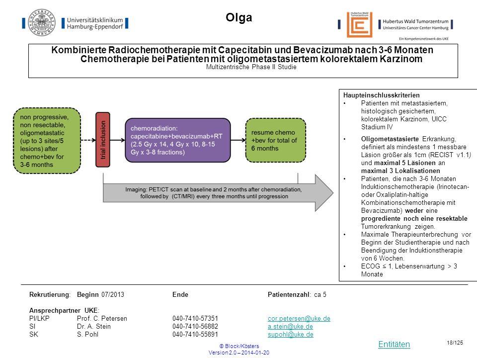Entitäten © Block/Kösters Version 2.0 – 2014-01-20 18/125 Olga Kombinierte Radiochemotherapie mit Capecitabin und Bevacizumab nach 3-6 Monaten Chemoth
