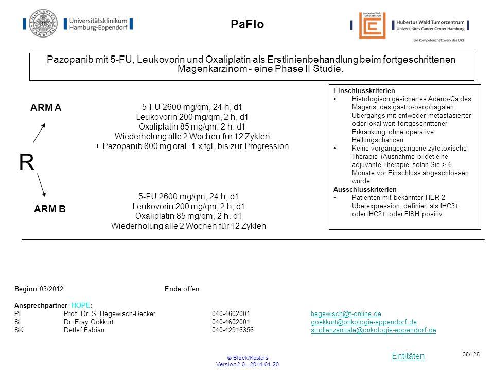 Entitäten © Block/Kösters Version 2.0 – 2014-01-20 38/125 PaFlo Pazopanib mit 5-FU, Leukovorin und Oxaliplatin als Erstlinienbehandlung beim fortgesch
