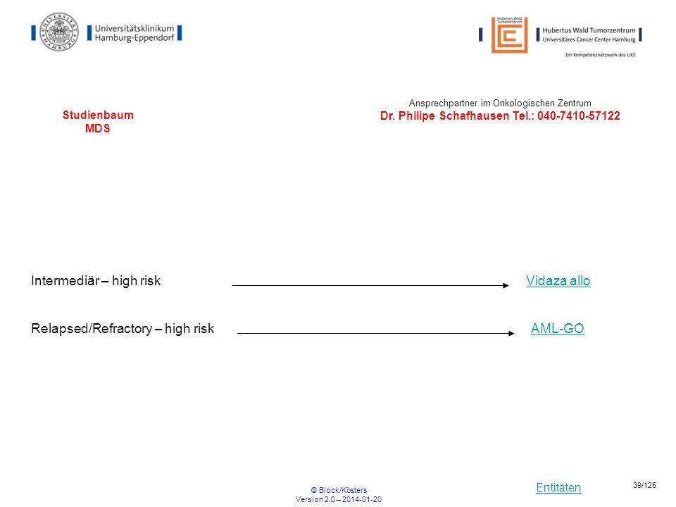 Entitäten © Block/Kösters Version 2.0 – 2014-01-20 39/125 Studienbaum MDS Intermediär – high riskVidaza allo Ansprechpartner im Onkologischen Zentrum