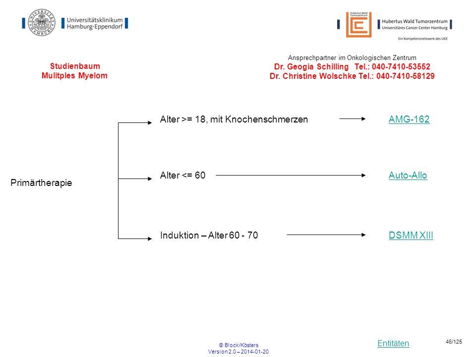 Entitäten © Block/Kösters Version 2.0 – 2014-01-20 46/125 Studienbaum Mulitples Myelom DSMM XIII Primärtherapie Induktion – Alter 60 - 70 Auto-Allo Al
