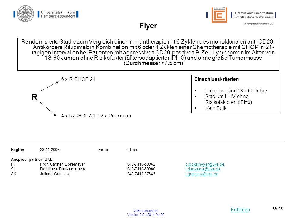 Entitäten © Block/Kösters Version 2.0 – 2014-01-20 53/125 Flyer Randomisierte Studie zum Vergleich einer Immuntherapie mit 6 Zyklen des monoklonalen a