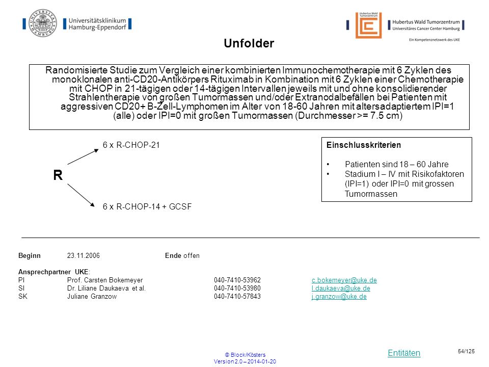 Entitäten © Block/Kösters Version 2.0 – 2014-01-20 54/125 Unfolder Randomisierte Studie zum Vergleich einer kombinierten Immunochemotherapie mit 6 Zyk