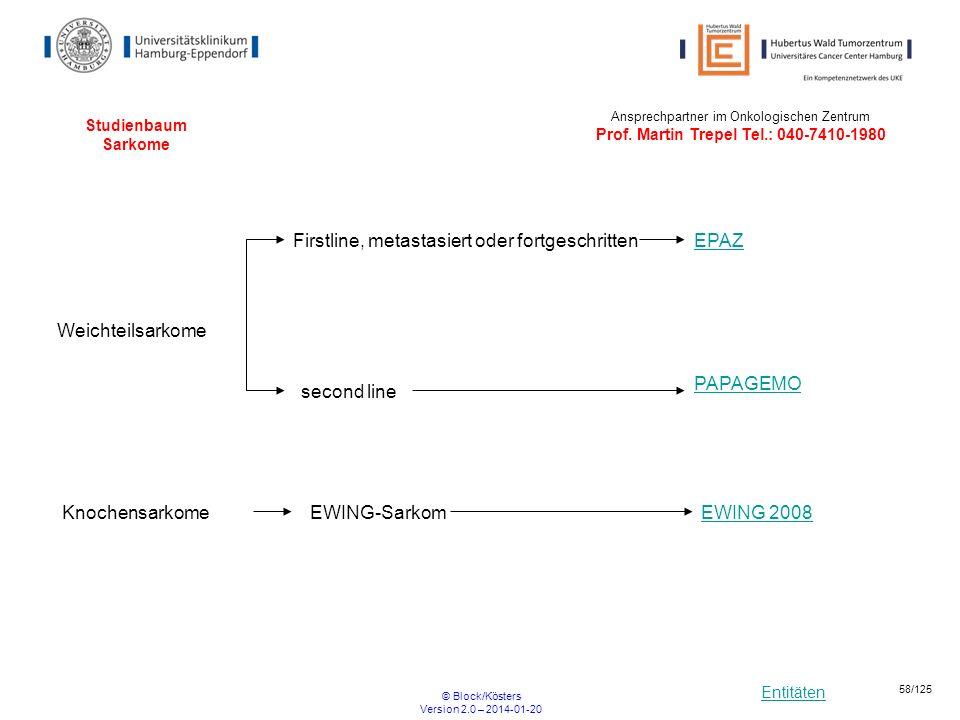 Entitäten © Block/Kösters Version 2.0 – 2014-01-20 58/125 Studienbaum Sarkome EWING 2008EWING-Sarkom Weichteilsarkome Knochensarkome PAPAGEMO second l