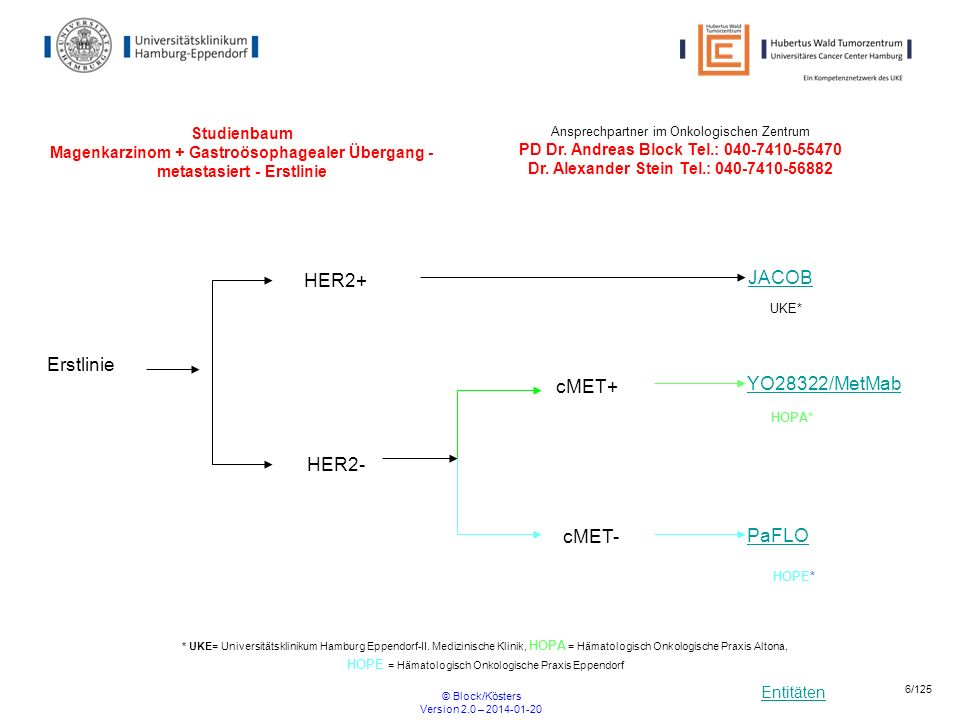 Entitäten © Block/Kösters Version 2.0 – 2014-01-20 6/125 Studienbaum Magenkarzinom + Gastroösophagealer Übergang - metastasiert - Erstlinie PaFLO Erst