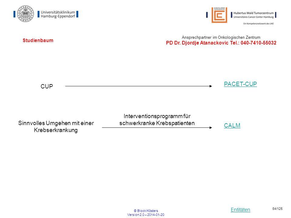 Entitäten © Block/Kösters Version 2.0 – 2014-01-20 64/125 Studienbaum CUP PACET-CUP Ansprechpartner im Onkologischen Zentrum PD Dr. Djordje Atanackovi