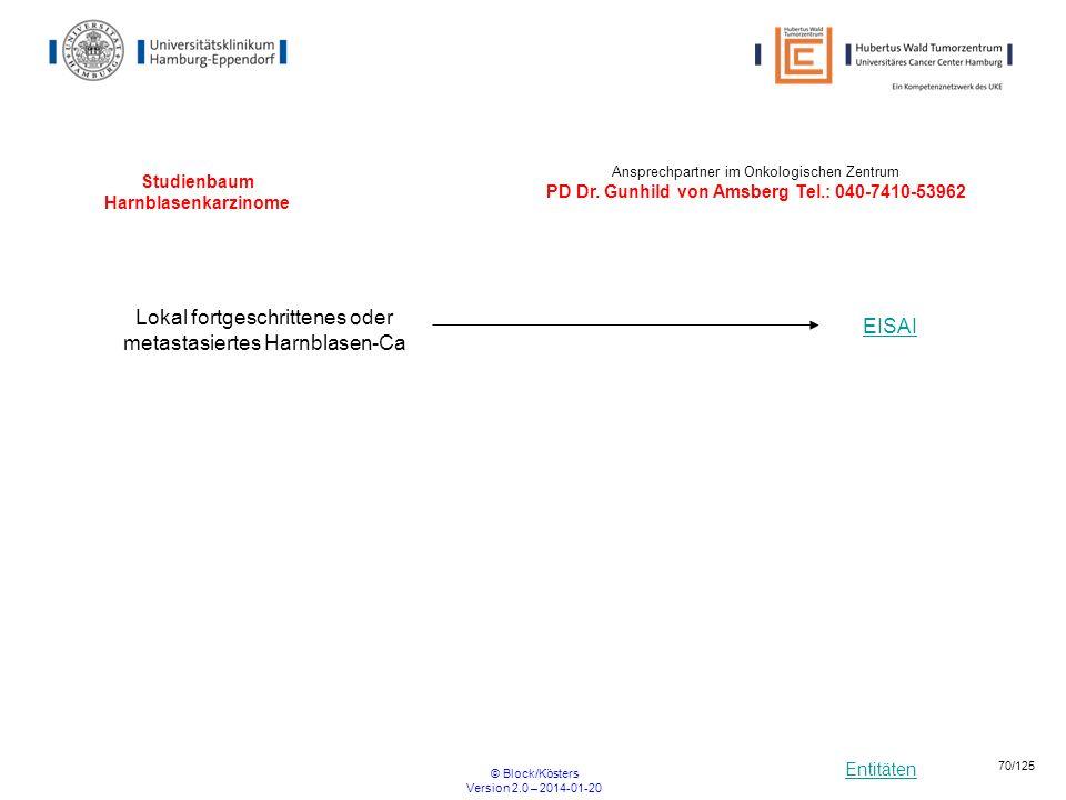 Entitäten © Block/Kösters Version 2.0 – 2014-01-20 70/125 Studienbaum Harnblasenkarzinome Lokal fortgeschrittenes oder metastasiertes Harnblasen-Ca EI