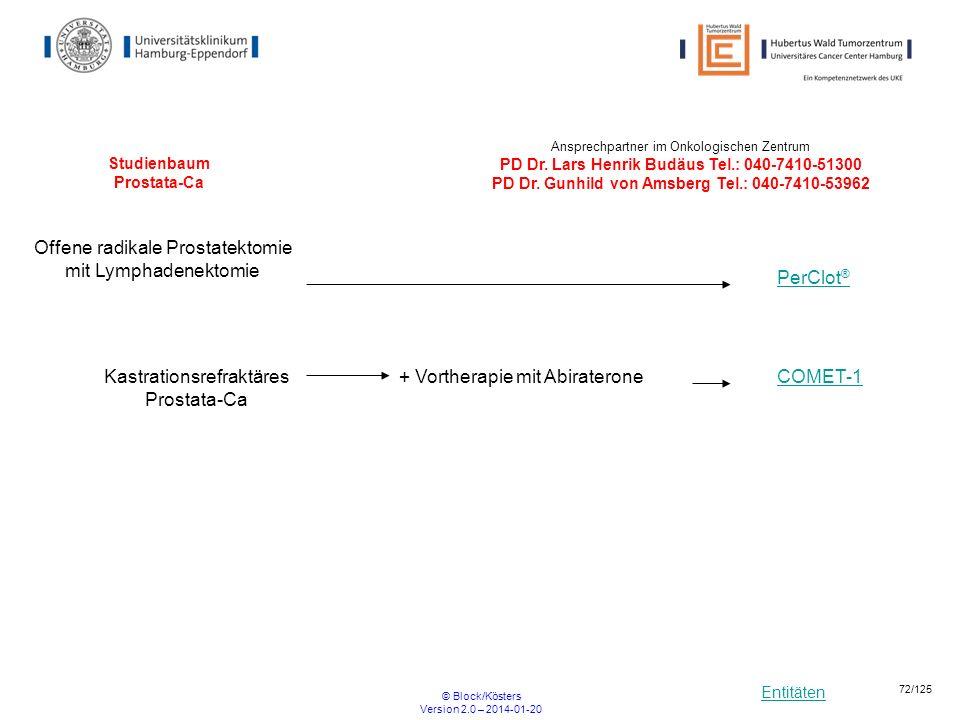 Entitäten © Block/Kösters Version 2.0 – 2014-01-20 72/125 Studienbaum Prostata-Ca Kastrationsrefraktäres Prostata-Ca Offene radikale Prostatektomie mi