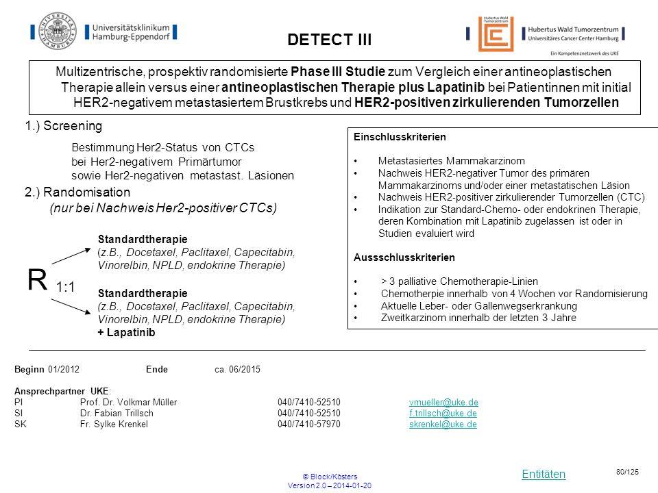 Entitäten © Block/Kösters Version 2.0 – 2014-01-20 80/125 DETECT III Multizentrische, prospektiv randomisierte Phase III Studie zum Vergleich einer an