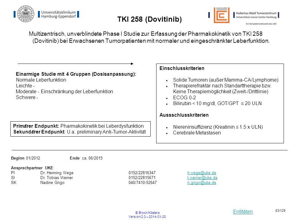 Entitäten © Block/Kösters Version 2.0 – 2014-01-20 83/125 TKI 258 (Dovitinib) Multizentrisch, unverblindete Phase I Studie zur Erfassung der Pharmakok
