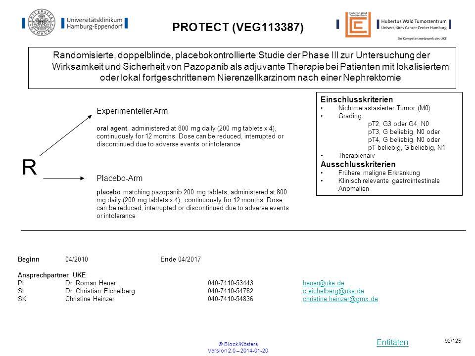 Entitäten © Block/Kösters Version 2.0 – 2014-01-20 92/125 PROTECT (VEG113387) Randomisierte, doppelblinde, placebokontrollierte Studie der Phase III z