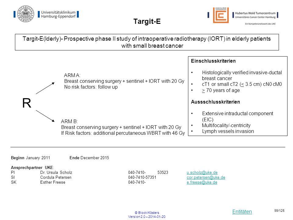 Entitäten © Block/Kösters Version 2.0 – 2014-01-20 99/125 Targit-E Targit-E(lderly)- Prospective phase II study of intraoperative radiotherapy (IORT)