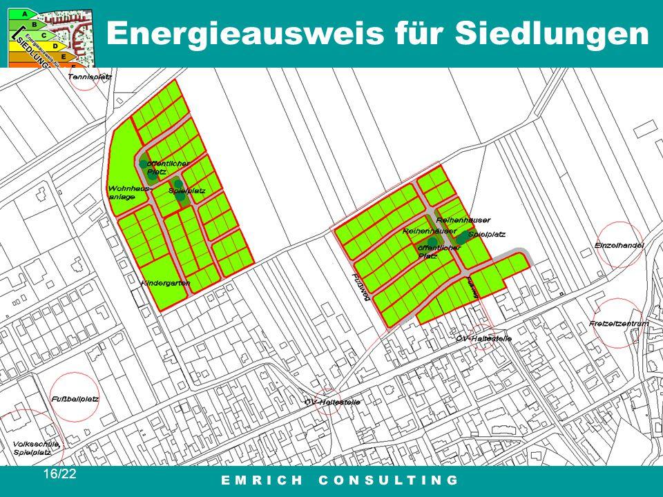 Energieausweis für Siedlungen 16/22 Eingaben Berechnung / Bewertung Ausgabe Ergebnis Beispiele Tipps Ausblick Beispiele Königstetten / Schiepeln und F