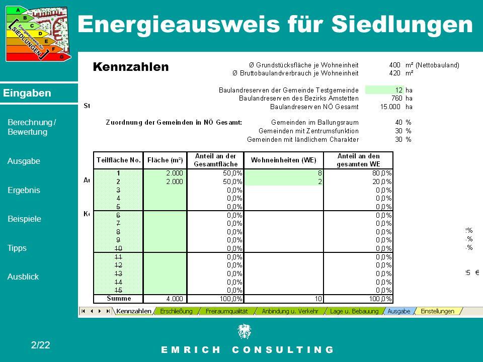 Energieausweis für Siedlungen 2/22 Eingaben Berechnung / Bewertung Ausgabe Ergebnis Beispiele Tipps Ausblick Eingaben Kennzahlen