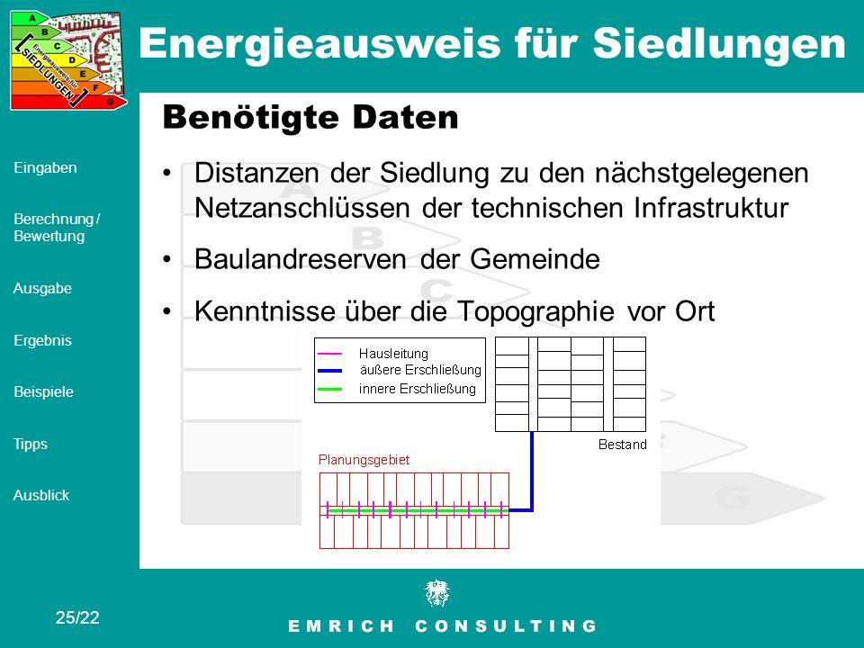 Energieausweis für Siedlungen 25/22 Eingaben Berechnung / Bewertung Ausgabe Ergebnis Beispiele Tipps Ausblick Benötigte Daten Distanzen der Siedlung z