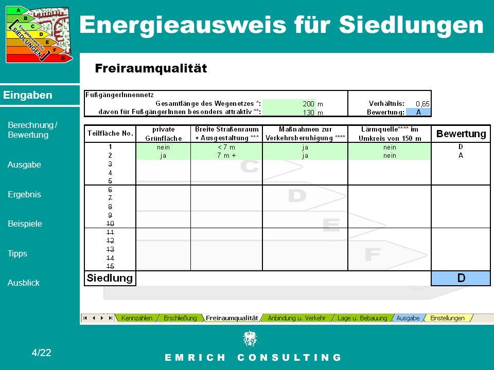 Energieausweis für Siedlungen 4/22 Eingaben Berechnung / Bewertung Ausgabe Ergebnis Beispiele Tipps Ausblick Freiraumqualität Eingaben