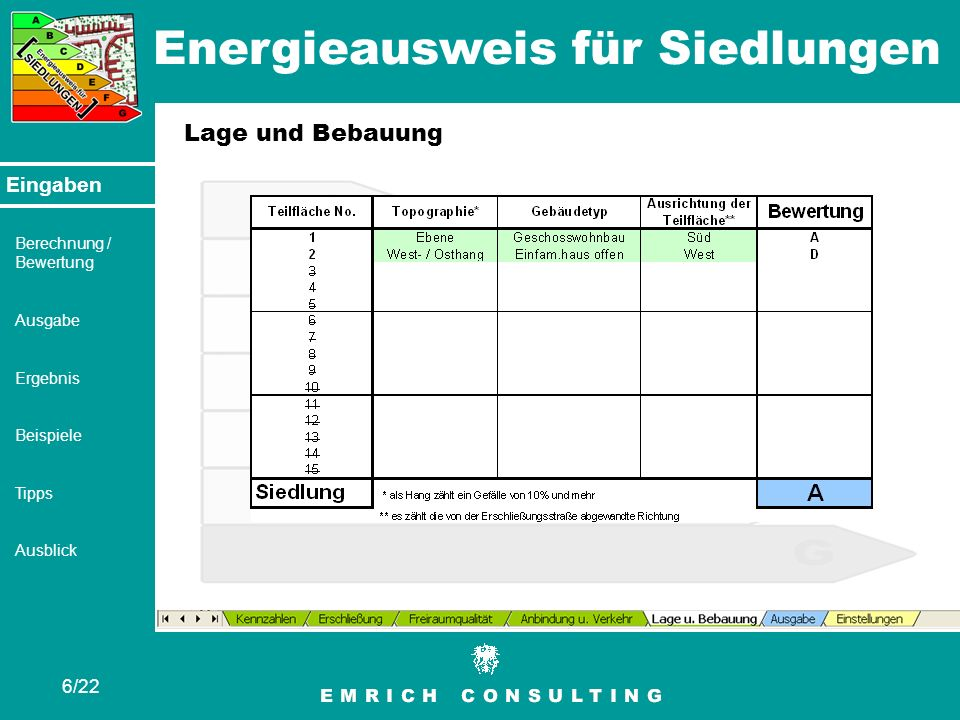 Energieausweis für Siedlungen 7/22 Eingaben Berechnung / Bewertung Ausgabe Ergebnis Beispiele Tipps Ausblick Berechnung / Bewertung Berechnung für jedes Tabellenblatt bzw.