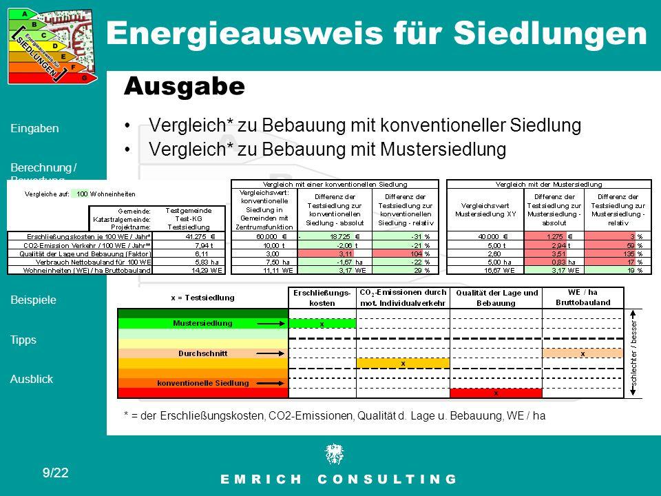 Energieausweis für Siedlungen 10/22 Eingaben Berechnung / Bewertung Ausgabe Ergebnis Beispiele Tipps Ausblick Ausgabe Hochrechnung der Kennwerte* der Siedlung auf Gemeindeebene, Bezirksebene und Landesebene** * = der Erschließungskosten, CO2-Emissionen, Qualität d.