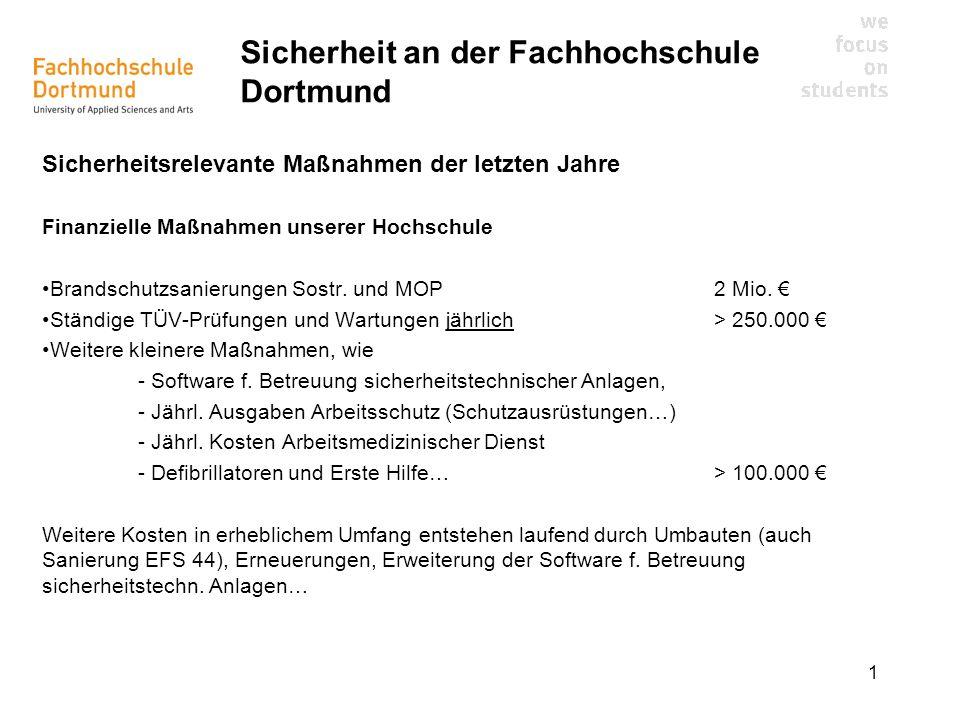 1 Sicherheit an der Fachhochschule Dortmund Sicherheitsrelevante Maßnahmen der letzten Jahre Finanzielle Maßnahmen unserer Hochschule Brandschutzsanie