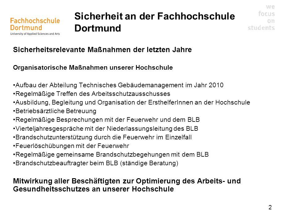 2 Sicherheit an der Fachhochschule Dortmund Sicherheitsrelevante Maßnahmen der letzten Jahre Organisatorische Maßnahmen unserer Hochschule Aufbau der
