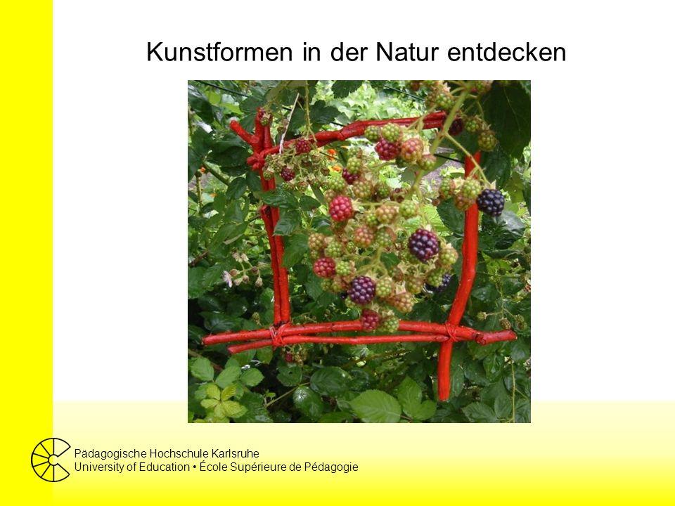 Pädagogische Hochschule Karlsruhe University of Education École Supérieure de Pédagogie Kunstformen in der Natur entdecken