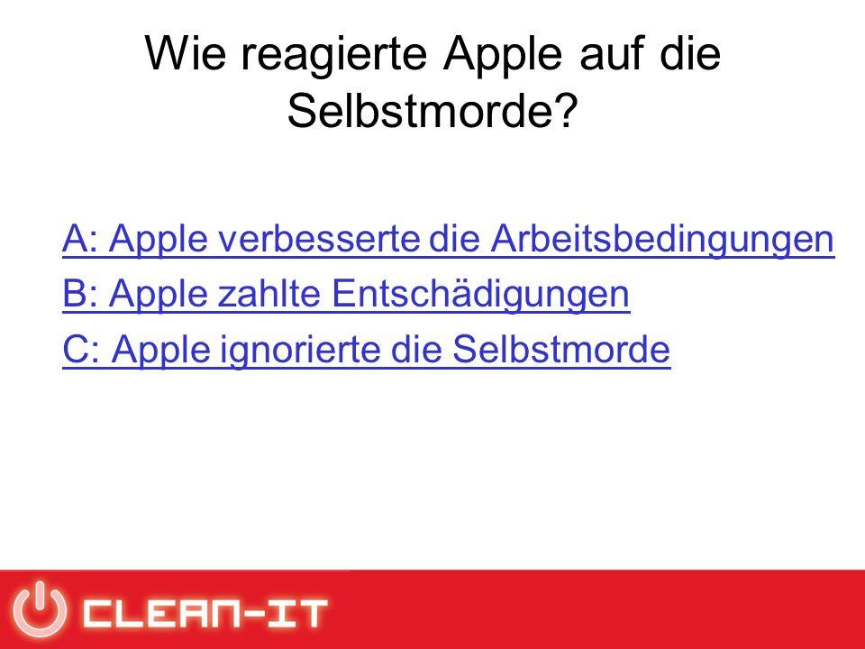 Wie reagierte Apple auf die Selbstmorde.