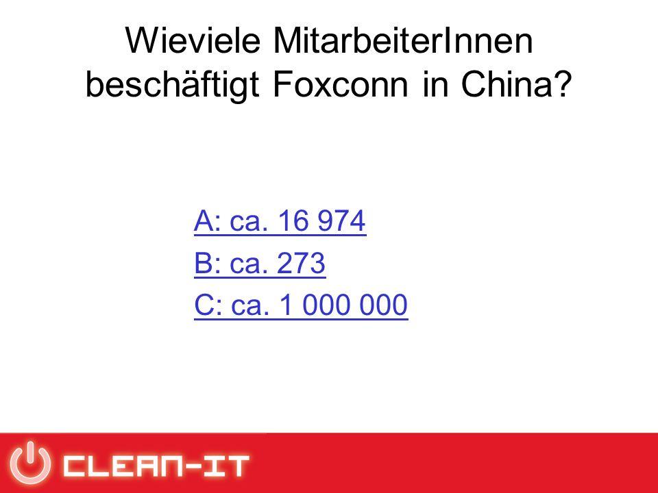 Wieviele MitarbeiterInnen beschäftigt Foxconn in China? A: ca. 16 974 B: ca. 273 C: ca. 1 000 000