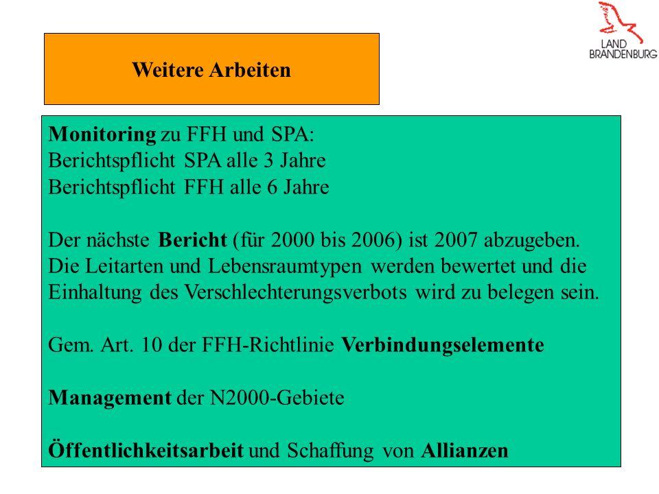 Weitere Arbeiten Monitoring zu FFH und SPA: Berichtspflicht SPA alle 3 Jahre Berichtspflicht FFH alle 6 Jahre Der nächste Bericht (für 2000 bis 2006) ist 2007 abzugeben.