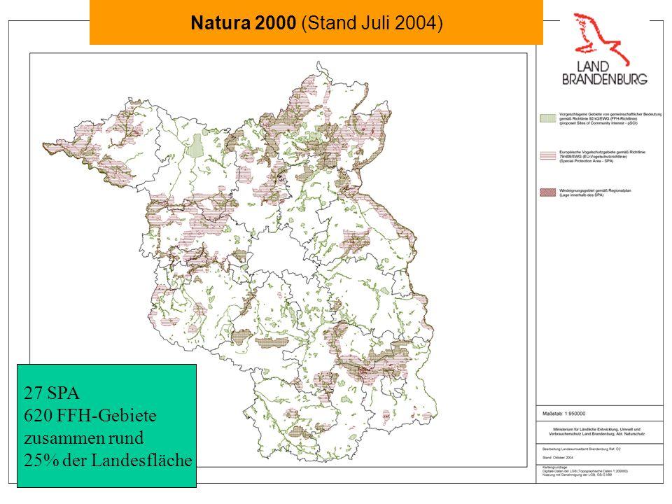 27 SPA 620 FFH-Gebiete zusammen rund 25% der Landesfläche Natura 2000 (Stand Juli 2004)