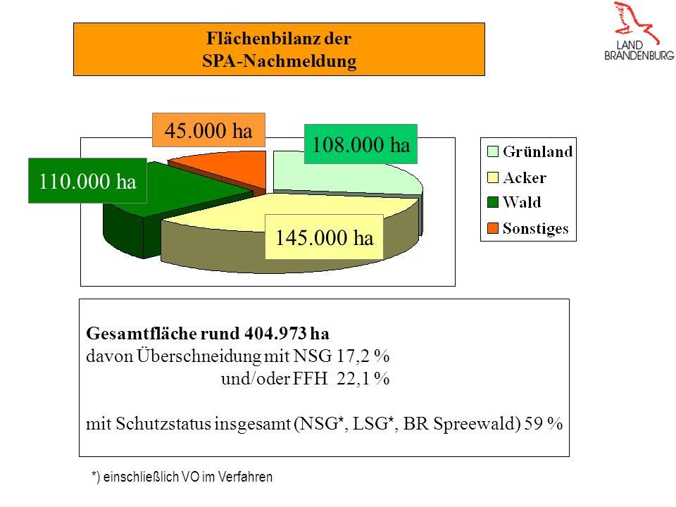 Flächenbilanz der SPA-Nachmeldung 110.000 ha 45.000 ha 145.000 ha 108.000 ha Gesamtfläche rund 404.973 ha davon Überschneidung mit NSG 17,2 % und/oder FFH 22,1 % mit Schutzstatus insgesamt (NSG *, LSG *, BR Spreewald) 59 % *) einschließlich VO im Verfahren