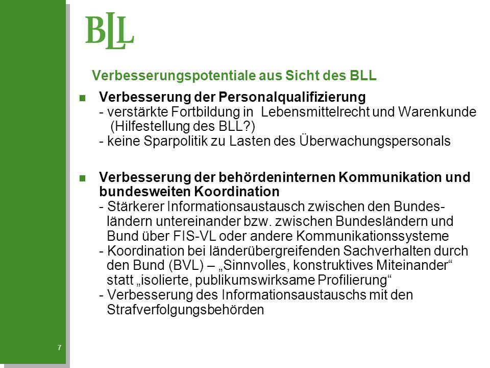 7 n Verbesserung der Personalqualifizierung - verstärkte Fortbildung in Lebensmittelrecht und Warenkunde (Hilfestellung des BLL?) - keine Sparpolitik zu Lasten des Überwachungspersonals n Verbesserung der behördeninternen Kommunikation und bundesweiten Koordination - Stärkerer Informationsaustausch zwischen den Bundes- ländern untereinander bzw.